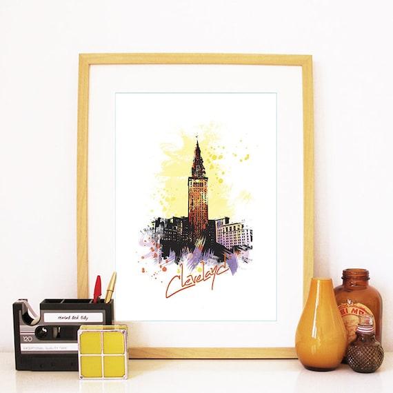 Cleveland Print, Cleveland Skyline, Cleveland Art, Cleveland Poster, Cleveland Watercolor, Cleveland Art, Cleveland Map, Cleveland Wall Art