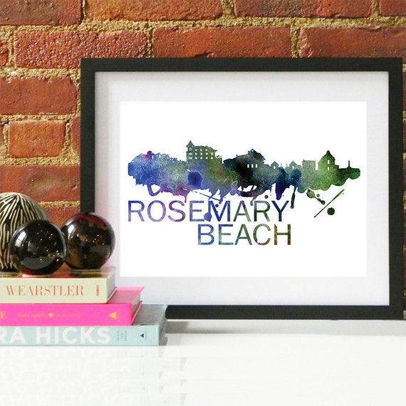 Rosemary Beach Watercolor Skyline, Rosemary Beach Skyline, Rosemary Beach Art, Rosemary Beach Poster, Rosemary Beach Print, Rosemary Beach