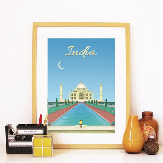 India Print, India Skyline, India Art, India Poster, India Watercolor, India Art Print, India Map, India Wall Art, Taj Mahal Art