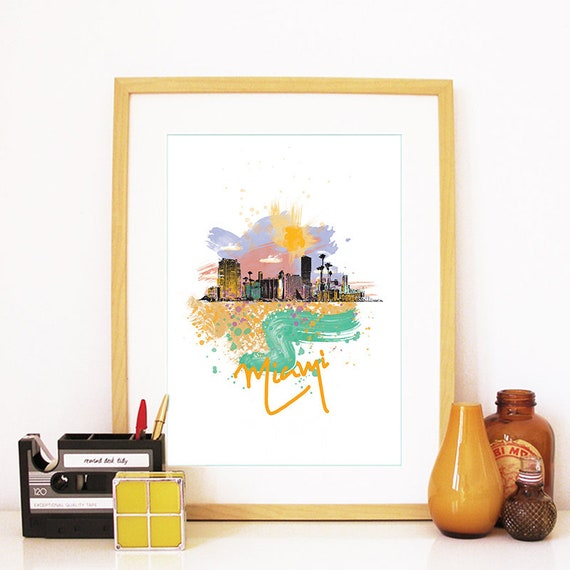Miami Print, Miami Skyline, Miami Art, Miami Poster, Miami Watercolor, Miami Art Print, Miami Map, Miami Wall Art, Miami Florida, Florida