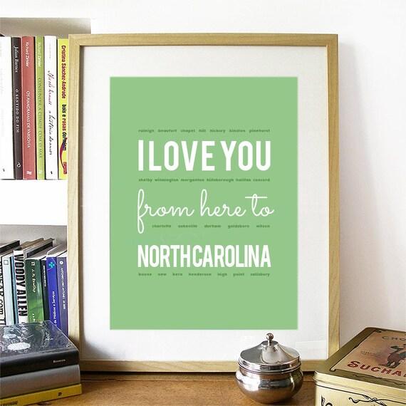 I love you from here to North Carolina, North Carolina Print, North Carolina Skyline, North Carolina Art, North Carolina Poster, NC