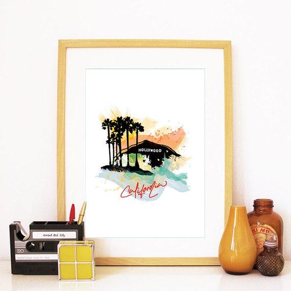 Hollywood Print, Hollywood Skyline, Hollywood Art, Hollywood Poster, Hollywood Watercolor, Hollywood Art, Hollywood Map, Hollywood Wall Art
