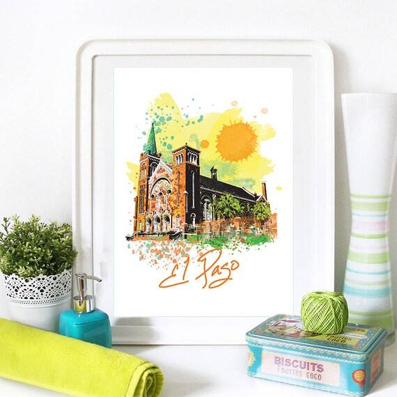 El Paso Print, El Paso Skyline, El Paso Art, El Paso Poster, El Paso Watercolor, El Paso Art Print, El Paso Map, El Paso Wall Art, Texas Art