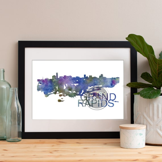 Grand Rapids Watercolor Skyline, Grand Rapids Skyline, Grand Rapids Art, Grand Rapids Poster, Grand Rapids Print, Grand Rapids Art, Michigan
