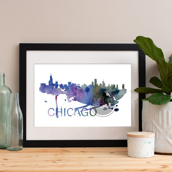 Chicago Watercolor Skyline, Chicago Skyline, Chicago Art, Chicago Poster, Chicago Print, Chicago Art, Chicago Map, Chicago Wall Art, Chicago