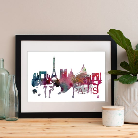 Paris Watercolor Skyline, Paris Skyline, Paris Art, Paris Poster, Paris Print, Paris Art, Paris Map, Paris Wall Art, France Art