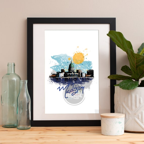 Madison Print, Madison Skyline, Madison Art, Madison Poster, Madison Watercolor, Madison Art Print, Madison Map, Madison Wall Art