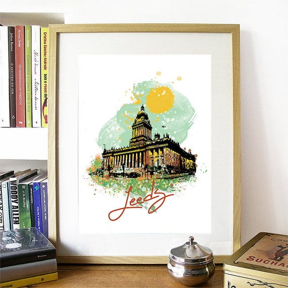 Leeds Print, Leeds Skyline, Leeds Art, Leeds Poster, Leeds Watercolor, Leeds Art Print, Leeds Map, Leeds Wall Art, Leeds England, UK