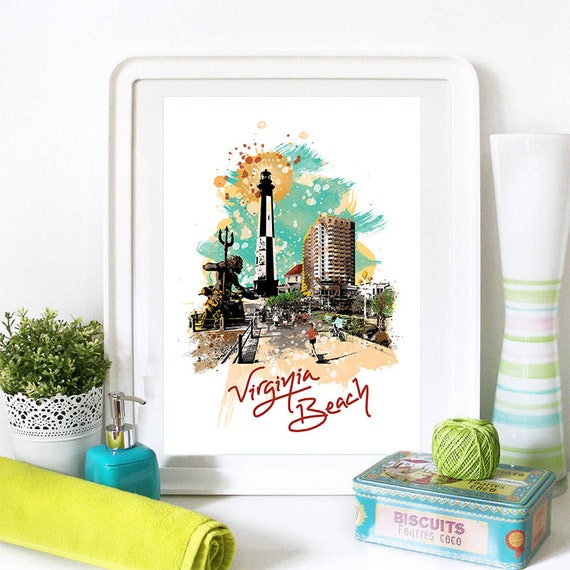 Virginia Beach Print, Virginia Beach Skyline, Virginia Beach Art, Virginia Beach Poster, Virginia Beach Virginia Beach, Virginia Beach