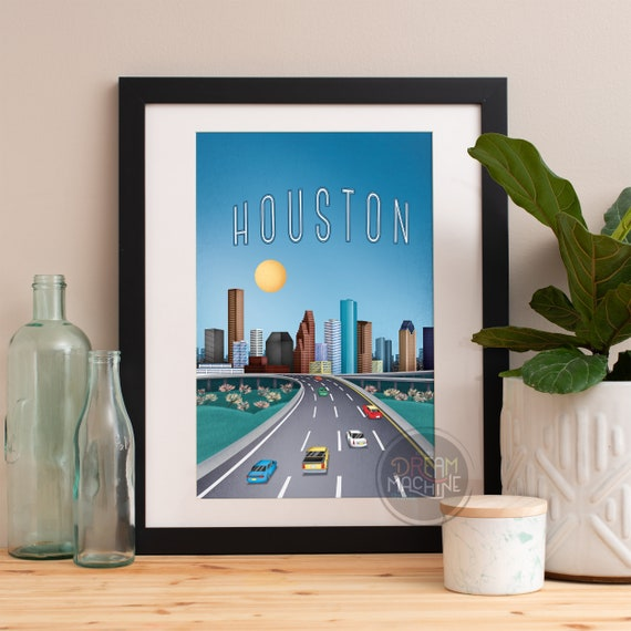 Houston Print, Houston Skyline, Houston Art, Houston Poster, Houston Watercolor, Houston Art, Houston Map, Houston Wall Art, Texas Art