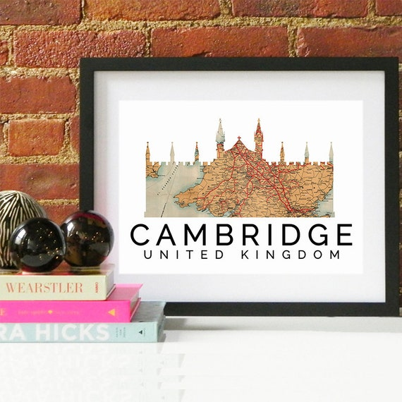 Cambridge Print, Cambridge Skyline, Cambridge Art, Cambridge Poster, Cambridge Watercolor, Cambridge Art Print, Cambridge Map, Cambridge