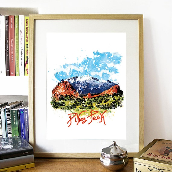 Pike's Peak Print, Pike's Peak Skyline, Pike's Peak Art, Pike's Peak Poster, Pike's Peak Watercolor, Pike's Peak Art Print, Pike's Peak Map