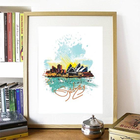 Sydney Print, Sydney Skyline, Sydney Art, Sydney Poster, Sydney Watercolor, Sydney Art Print, Sydney Map, Sydney Wall Art