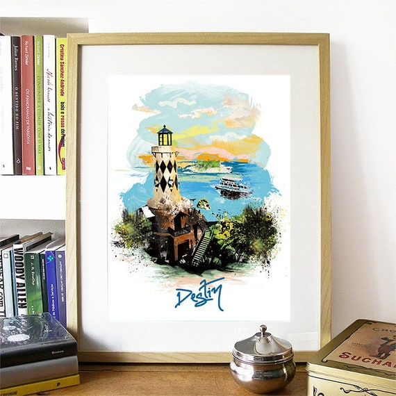 Destin Print, Destin Skyline, Destin Art, Destin Poster, Destin Watercolor, Destin Art Print, Destin Map, Destin Wall Art, Destin Florida