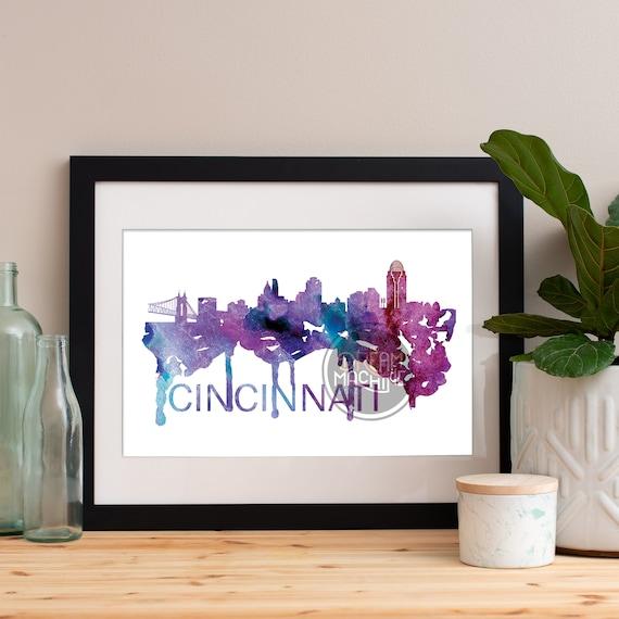 Cincinnati Watercolor Skyline, Cincinnati Skyline, Cincinnati Art, Cincinnati Poster, Cincinnati Print, Cincinnati Art, Cincinnati Map