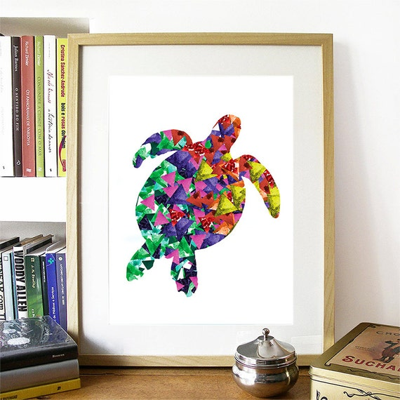 Seaturtle Print Watercolor Triangles