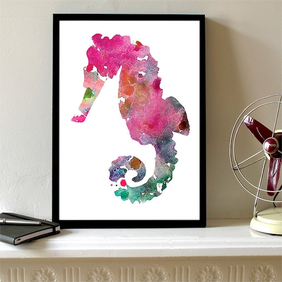 Seahorse Print Purple and Pink Watercolor