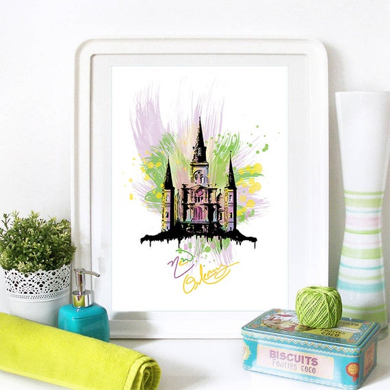 New Orleans Print, New Orleans Skyline, New Orleans Art, New Orleans Poster, New Orleans Watercolor, New Orleans Art, New Orleans Map