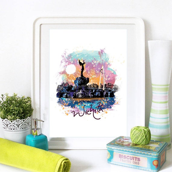 Wichita Print, Wichita Skyline, Wichita Art, Wichita Poster, Wichita Watercolor, Wichita Art Print, Wichita Map, Wichita Wall Art