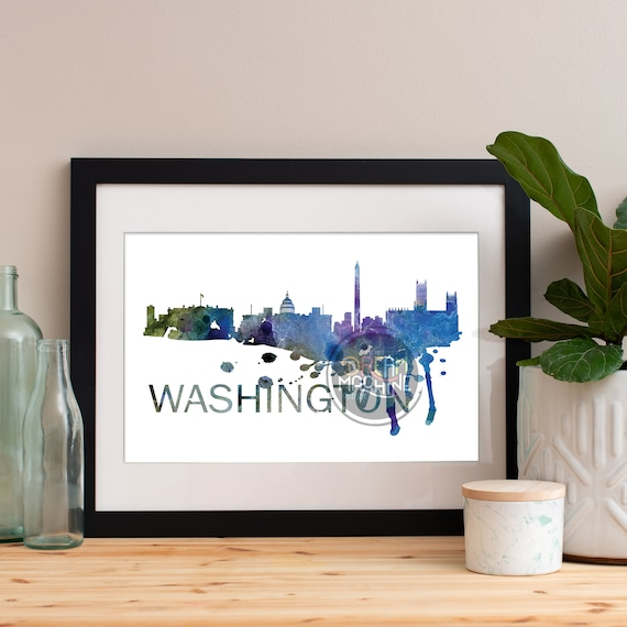 Washington DC Art, Washington DC Skyline, Washington DC map, Washington dc skyline, Washington dc map print