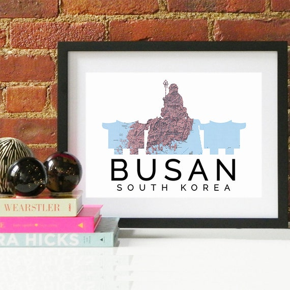 Busan Print, Busan Skyline, Busan Art, Busan Poster, Busan Watercolor, Busan Art Print, Busan Map, Busan Wall Art