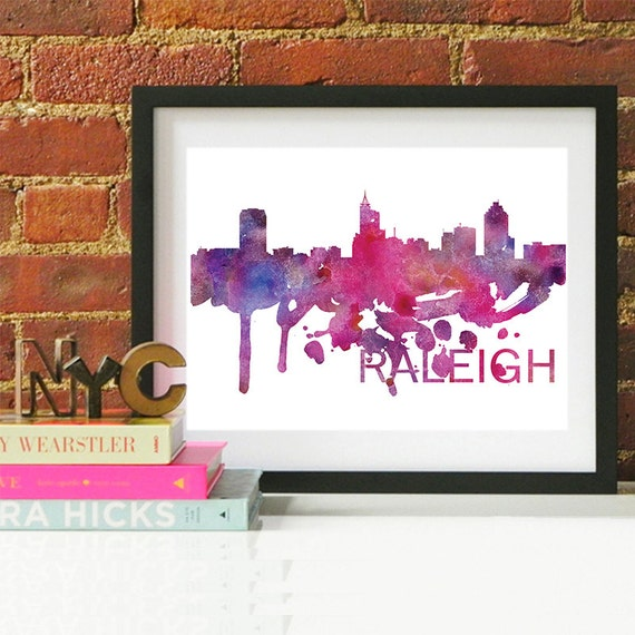 Raleigh Watercolor Skyline, Raleigh Skyline, Raleigh Art, Raleigh Poster, Raleigh Print, Raleigh Art, Raleigh Map, Raleigh Wall Art, Raleigh