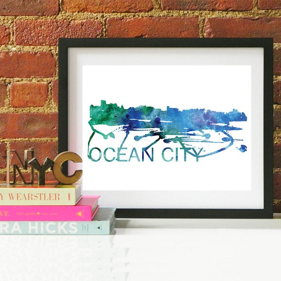 Ocean City Watercolor Skyline, Ocean City Skyline, Ocean City Art, Ocean City Poster, Ocean City Print, Ocean City Art, Ocean City Map, MD