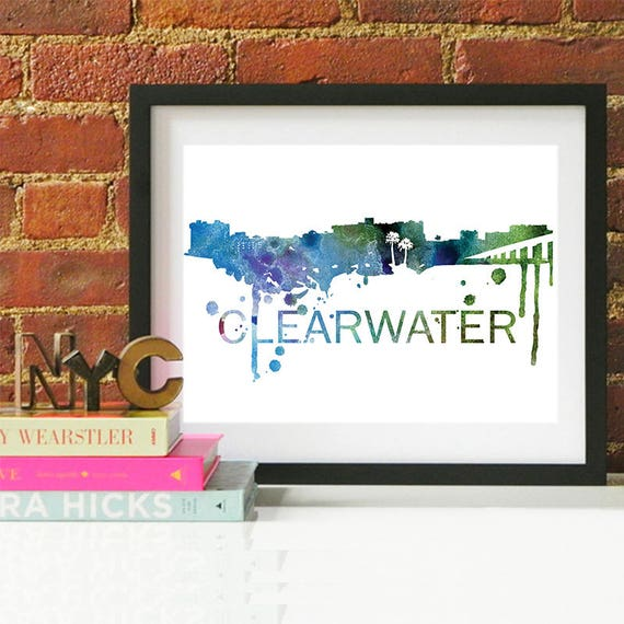 Clearwater Watercolor Skyline, Clearwater Skyline, Clearwater Art, Clearwater Poster, Clearwater Print, Clearwater Art, Clearwater Map