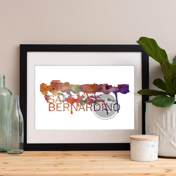 San Bernardino Watercolor Skyline, San Bernardino Skyline, San Bernardino Art, San Bernardino Poster, San Bernardino Print, San Bernardino