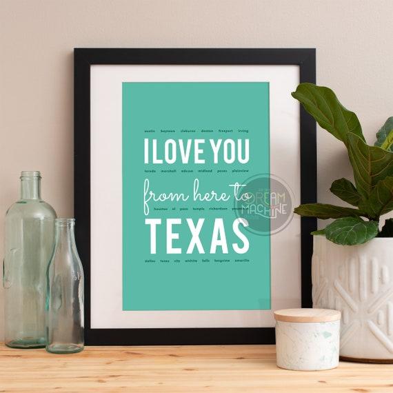 I love you from here to Texas, Texas Print, Texas Skyline, Texas Art, Texas Poster, Texas Watercolor, Texas Art Print