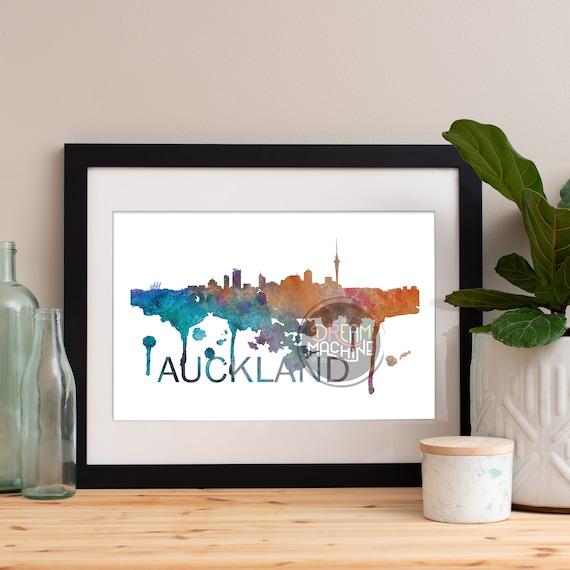 Auckland Watercolor Skyline, Auckland Skyline, Auckland Art, Auckland Poster, Auckland Print, Auckland Art, Auckland Map, Auckland Wall Art