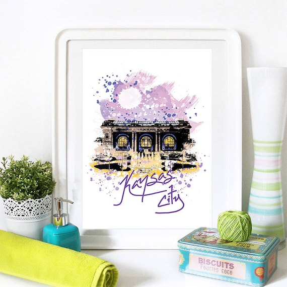 Kansas City Print, Kansas City Skyline, Kansas City Art, Kansas City Poster, Kansas City Watercolor, Kansas City Art Print, Kansas City Map
