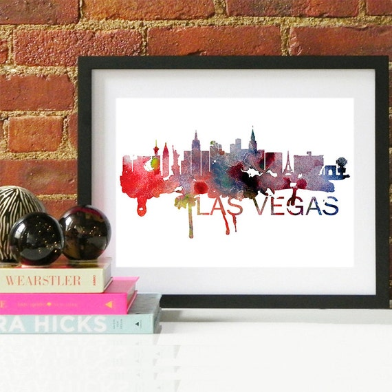 Las Vegas Watercolor Skyline, Las Vegas Skyline, Las Vegas Art, Las Vegas Poster, Las Vegas Print, Las Vegas Art, Las Vegas Map, Las Vegas