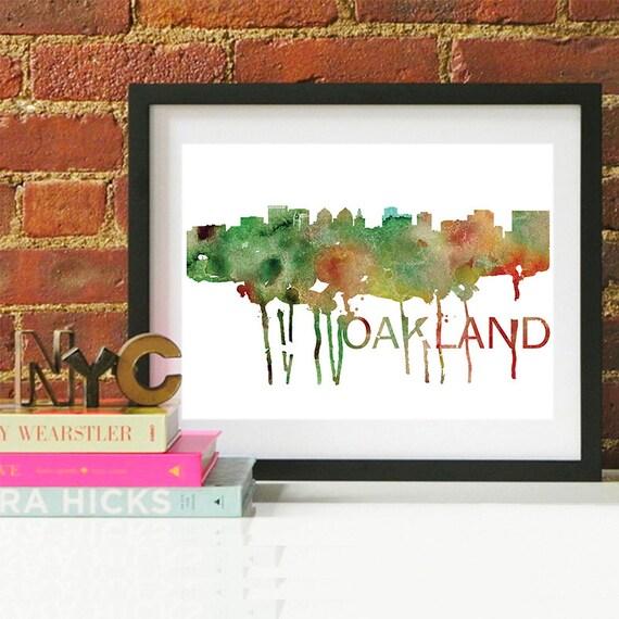 Oakland Watercolor Skyline, Oakland Skyline, Oakland Art, Oakland Poster, Oakland Print, Oakland Art, Oakland Map, Oakland Wall Art