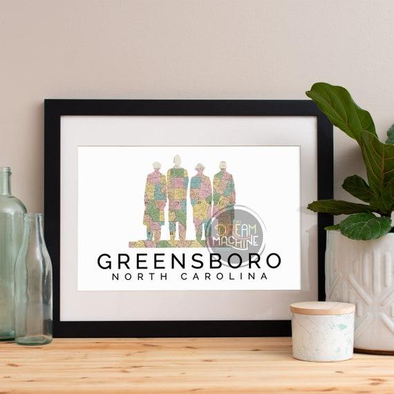 Greensboro Print, Greensboro Skyline, Greensboro Art, Greensboro Poster, Greensboro Watercolor, Greensboro Art Print, Greensboro Map