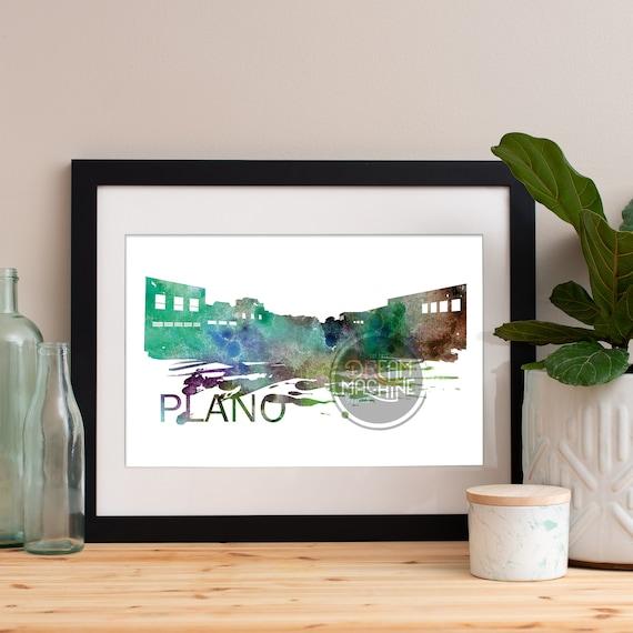 Plano Watercolor Skyline, Plano Skyline, Plano Art, Plano Poster, Plano Print, Plano Art, Plano Map, Plano Wall Art, Texas Art