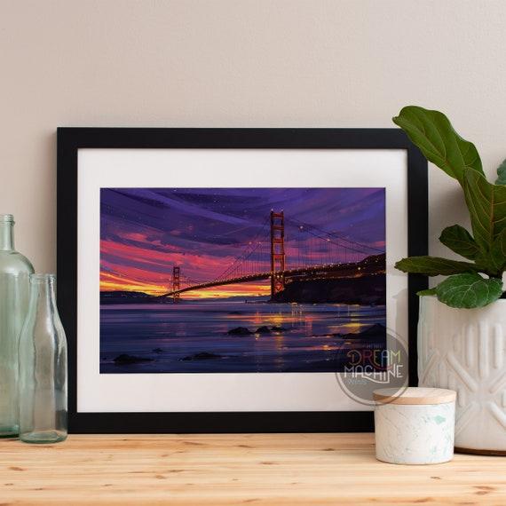 San Francisco Golden Gate Bridge Print, San Francisco Watercolor Skyline, San Francisco Skyline, San Francisco Art, San Francisco Poster
