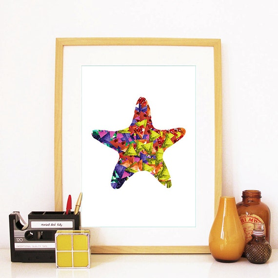 Starfish Print Watercolor Triangles