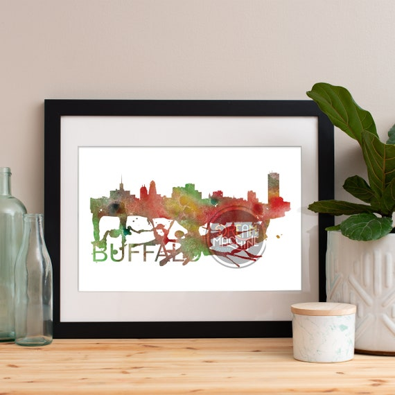 Buffalo Watercolor Skyline, Buffalo Skyline, Buffalo Art, Buffalo Poster, Buffalo Print, Buffalo Art, Buffalo Map, Buffalo Wall Art