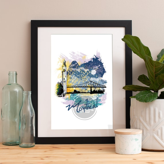 Montreal Print, Montreal Skyline, Montreal Art, Montreal Poster, Montreal Watercolor, Montreal Art Print, Montreal Map, Montreal Wall Art