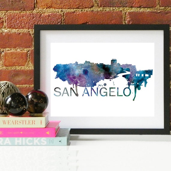 San Angelo Print, San Angelo Skyline, San Angelo Art, San Angelo Poster, San Angelo Watercolor, San Angelo Art Print, San Angelo Map, Texas
