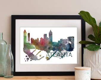 Atlanta Watercolor Skyline, Atlanta Skyline, Atlanta Art, Atlanta Poster, Atlanta Print, Atlanta Art, Atlanta Map, Atlanta Wall Art, Georgia