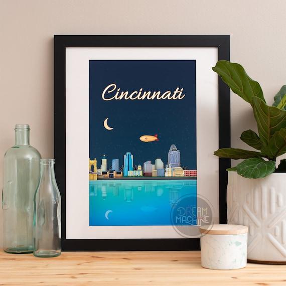 Cincinnati Print, Cincinnati Skyline, Cincinnati Art, Cincinnati Poster, Cincinnati Watercolor, Cincinnati Art, Cincinnati Map, Cincinnati