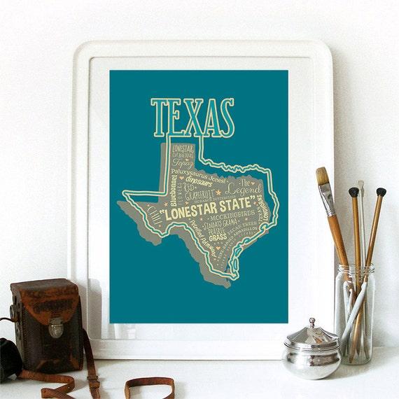 Texas State Print Texas Art Texas Poster Texas Print