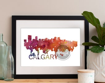 Calgary Watercolor Skyline, Calgary Skyline, Calgary Art, Calgary Poster, Calgary Print, Calgary Art, Calgary Map, Calgary Wall Art