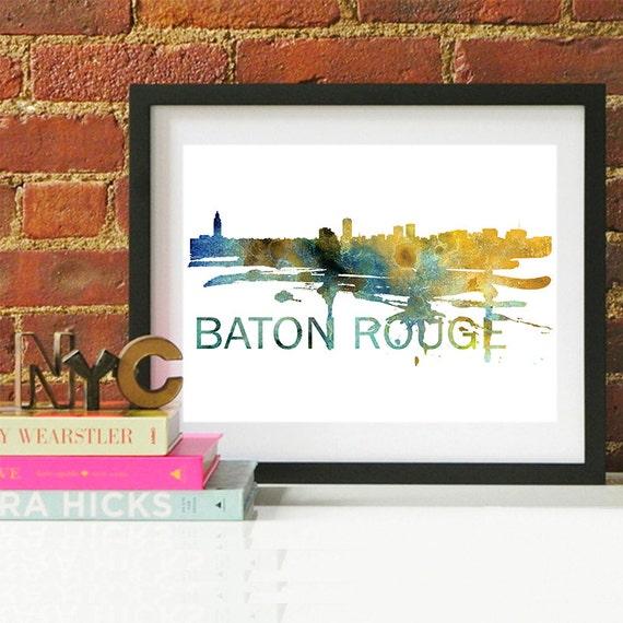 Baton Rouge Watercolor Skyline, Baton Rouge Skyline, Baton Rouge Art, Baton Rouge Poster, Baton Rouge Print, Baton Rouge Art, Baton Rouge