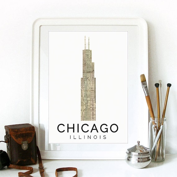 Chicago Print, Chicago Skyline, Chicago Art, Chicago Poster, Chicago Watercolor, Chicago Art Print, Chicago Map, Chicago Wall Art, Ohio Art