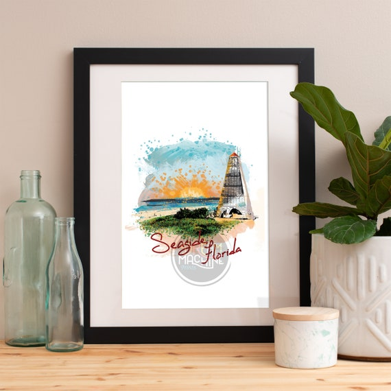 Seaside Print, Seaside Skyline, Seaside Art, Seaside Poster, Seaside Watercolor, Seaside Art Print, Seaside Map, Seaside Wall Art