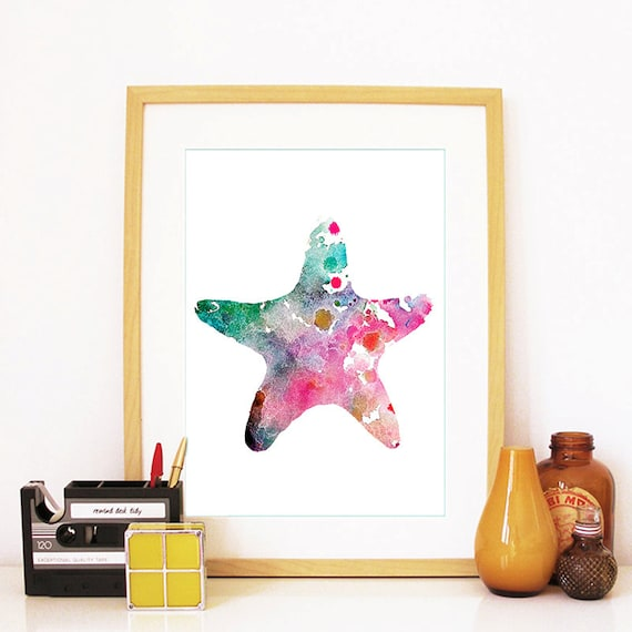 Starfish Print Watercolor Blue and Purple Starfish