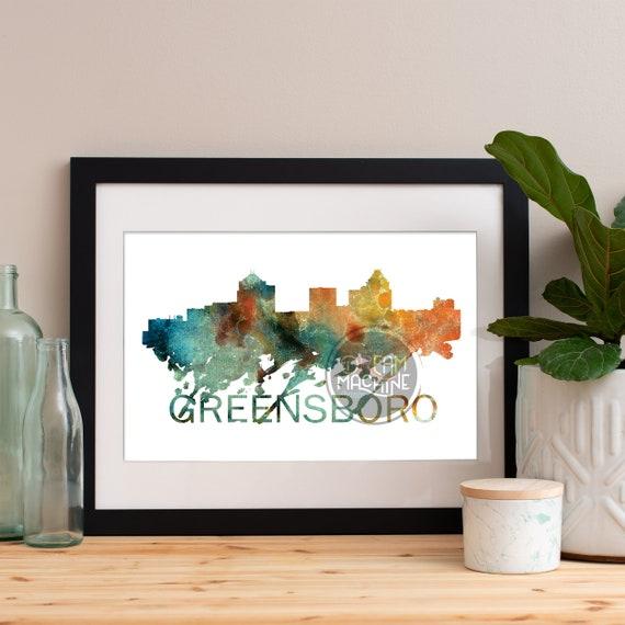 Greensboro Watercolor Skyline, Greensboro Skyline, Greensboro Art, Greensboro Poster, Greensboro Print, Greensboro Art, Greensboro Map